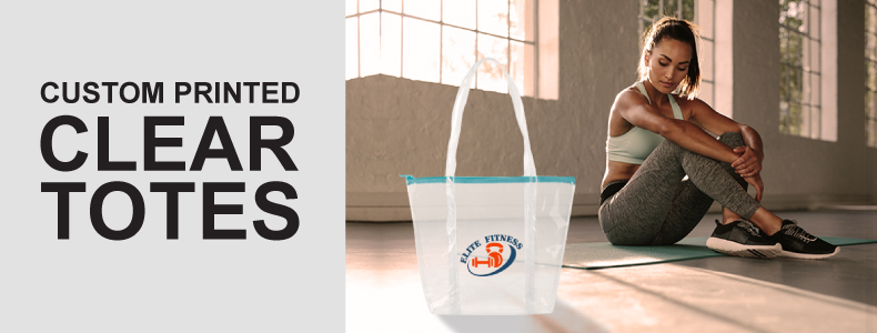 Personalized Custom Printed Clear Totes Half Width Image