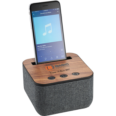 4637-103 Shae Fabric and Wood Bluetooth Speaker